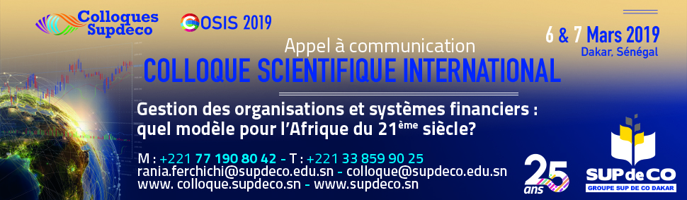 APPEL A COMMUNICATION | COLLOQUE SCIENTIFIQUE INTERNATIONAL DE SUP DE CO DAKAR